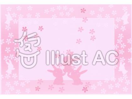 桜うさぎのイラスト