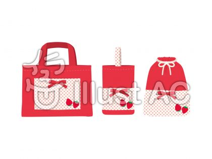 てさげバッグセット_赤のイラスト