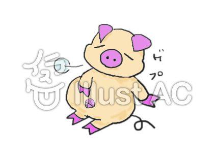 お腹いっぱいの豚2イラスト - No...