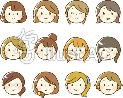 いろいろな女性の顔アイコン顔のみイラスト No 98922無料