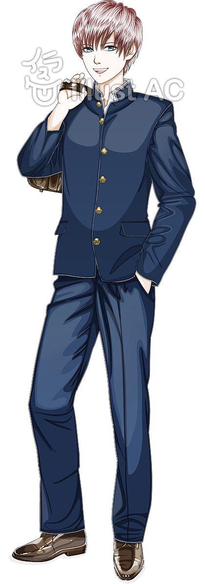 男子高校生学ランの制服を着る全身イラスト No 158600無料イラスト
