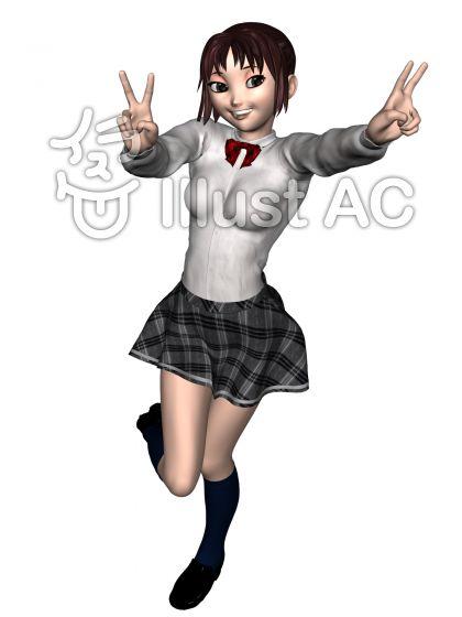 はしゃぐアニメ顔女子高生のイラスト