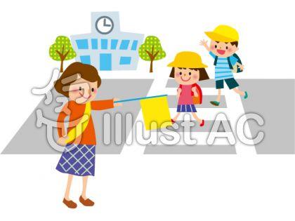 横断歩道をわたる小学生のフリー素材