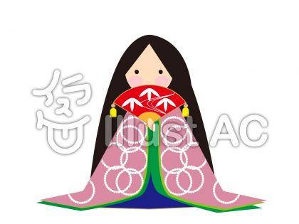 かぐや姫(桃色柄)のイラスト