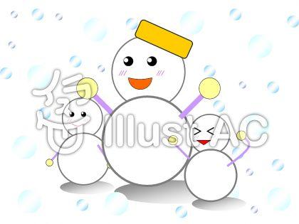 雪だるまの親子のイラスト