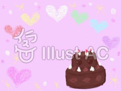 チョコレートケーキとハートのフレームのイラスト