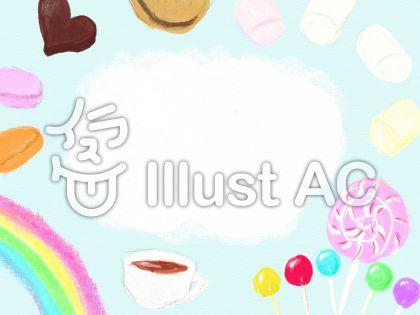 お菓子の国のフレームのイラスト