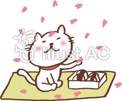 花見する猫 お弁当バージョンのイラスト