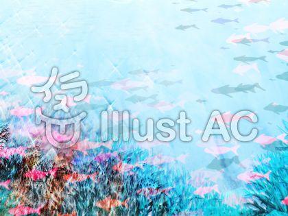 キラキラ魚群サンゴの海のイラスト