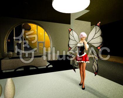 真夜中のリビングダイニングの妖精のイラスト