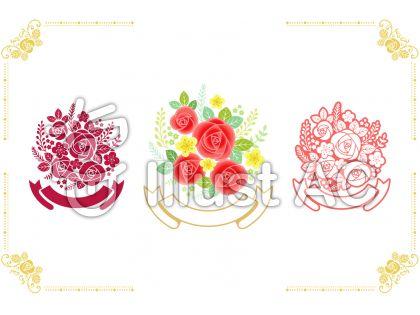 バラの花束と枠4のイラスト