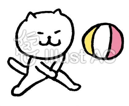 猫 ビーチバレーイラスト , No 467959/無料イラストなら