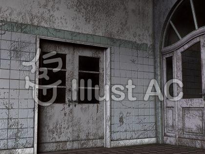 廃屋背景のイラスト