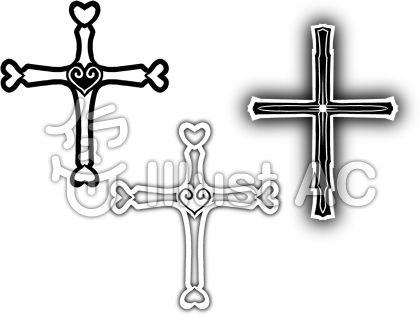 白黒十字架・ぼかしのイラスト