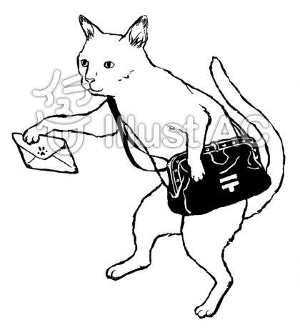 白猫 モノクロのイラスト