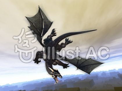 飛翔するブラックドラゴンのイラスト