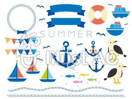 ヨット、ロープのフレーム、ガーランド、アンカー、魚のイラスト