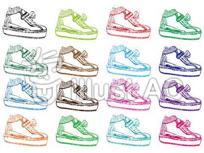 運動靴スニーカー手書きイラスト素材セットイラスト , No 551098/無料イラストなら「イラストAC」
