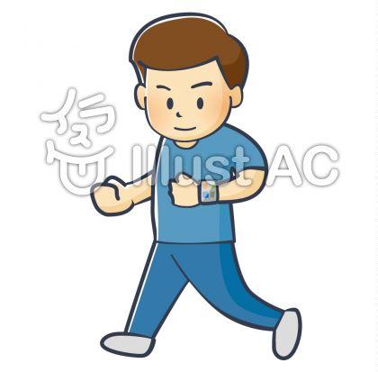 スマートウォッチを見ながら走る男性
