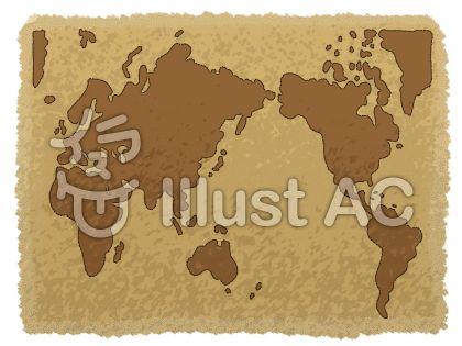 古ぼけた地図(世界風)のイラスト