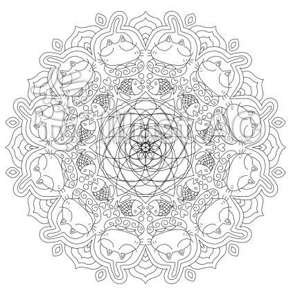 猫の曼荼羅塗り絵イラスト No 628252無料イラストなら