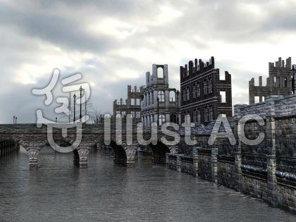 壊れた街の背景のイラスト