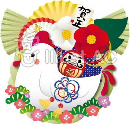 鶏しめ縄飾りイラストのイラスト