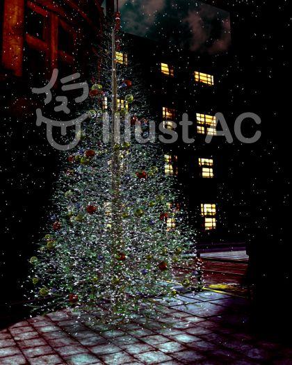 街中、夜と雪とクリスマスツリーのイラスト