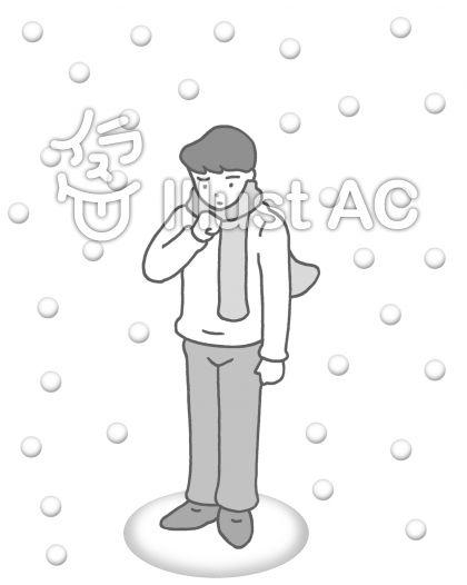 厳寒 ・降雪(モノクロ)のイラスト