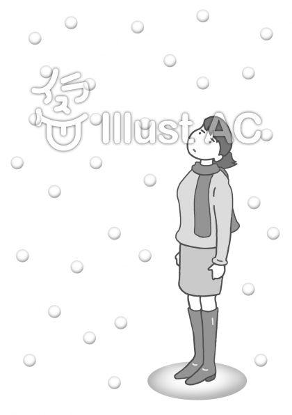 厳冬 ・大雪(モノクロ)のイラスト