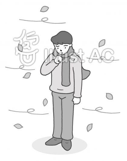 寒風 ・木枯らし(モノクロ)のイラスト