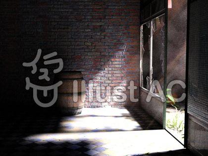 廃墟に差し込む光のイラスト