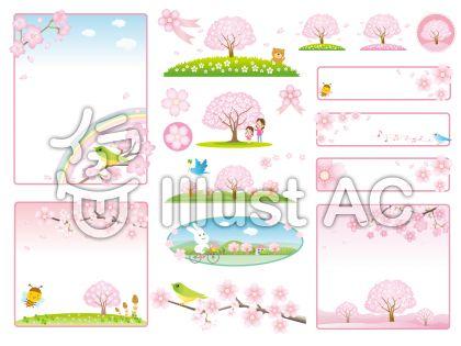 桜のフレームと風景のセットのイラスト