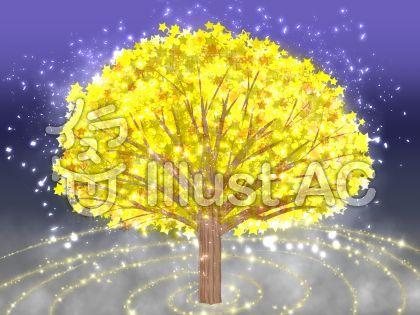 星の木の背景のイラスト