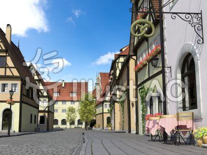 晴天の中世建築風の街の風景のイラスト