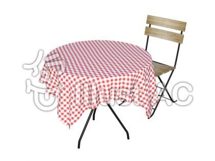 カフェテーブルと椅子(ピンク)のイラスト