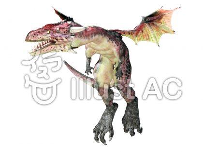 赤い小型ドラゴンのイラスト