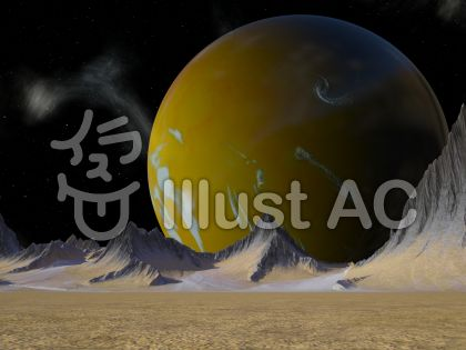 宇宙の黄色い惑星のイラスト