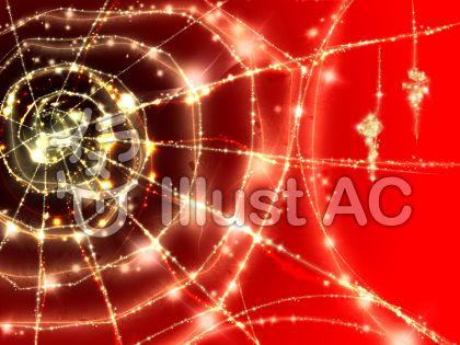キラキラ蜘蛛の巣(赤)のイラスト
