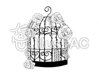 おしゃれな鳥籠薔薇とイバラつきイラスト No 740161無料