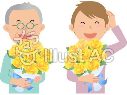70418,男性,花束のイラスト