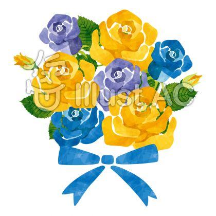 バラの花束/黄・青・父の日用のイラスト