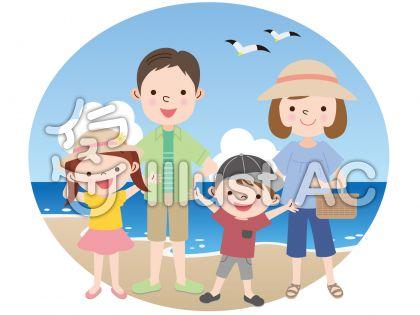 家族で海のレジャーのイラスト