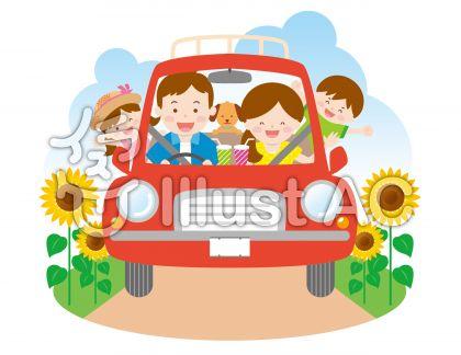 家族でドライブ05_向日葵畑をのイラスト