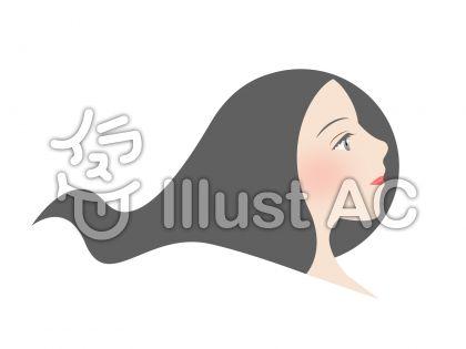 女性 横顔のイラスト