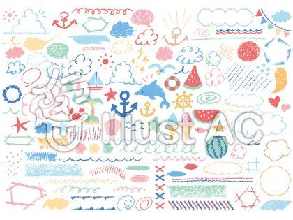 夏の手書きイラスト。アンカー、イルカ、ヒトデ、スイカ、入道雲、積乱雲、ガーランド
