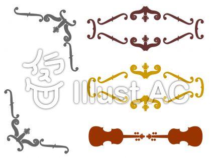 バイオリンモチーフの飾り枠のイラスト