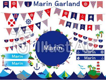 マリンのガーランド、旗、イルカの無料素材