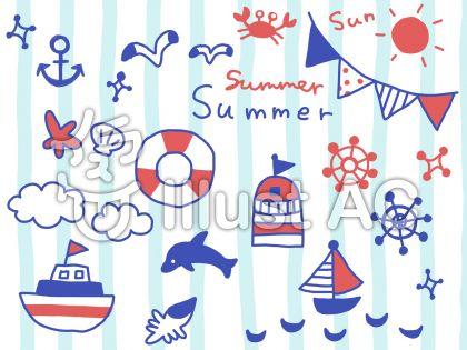 太陽、ガーランド、カモメ、アンカー、ストライプ、雲、船