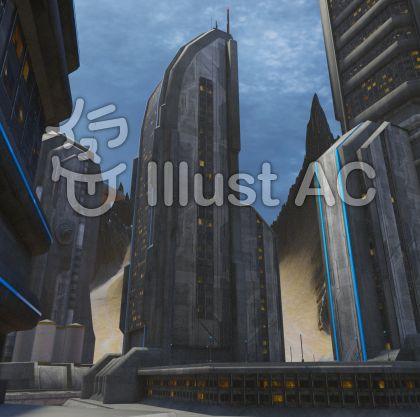 惑星都市の風景のイラスト